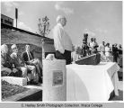Unveiling of plaque honoring James Freeman at Freeman Field during Alumni Reunion, Ithaca College,...