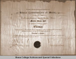 Diploma from the Ithaca Conservatory of Music, 1898.