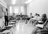 Physical education instruction in Hill Center, Ithaca College, Ithaca, NY, 1971.