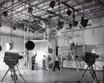 Television studio, lighting setup, Ithaca College, Ithaca, NY, taken March 20, 1958