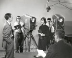 Television class, Ithaca College, Ithaca, NY, group photograph of students & TV camera, taken...