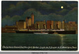 The Lusitania (Cunard Line) New York Harbor. Length 790 Ft., Breadth 88 Ft., 68,000 Horse Power....