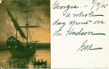 [Sailing ship and canoes at sunset] [untitled] (1front) [h0139ac1]