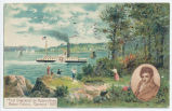 """First Steamboat on Hudson River. Robert Fulton's ""Clermont"" 1807 [front caption]..."