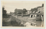 [Canal Boat anchored on Champlain Canal in rural scene] [untitled] (1front) [c0073ac1]