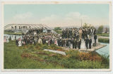 ARRIVAL OF PILGRIMS BY CANAL BOAT, AURIESVILLE, N.Y. [front caption] (1front) [e0643ac1]