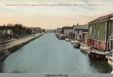 ERIE CANAL - EAST FROM MAIN ST., SHOWING LINDLEY BOAT CO., CANASTOTA, N.Y. [front caption]...