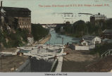 The Locks, Erie Canal, and N.Y.C.R.R. Bridge, Lockport, N.Y.  [front caption] (1front) [e0461ac1]