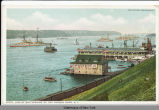 I2802 LINE OF BATTLESHIPS, UP THE HUDSON RIVER, N.Y. [front caption] (1 front) [h0086ac1]