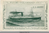 CLYDE STEAMSHIP CO. S.S. ARAPAHOE General Offices: Pier 36 North River - Branch 290 Broadway - New...