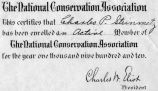 Membership certificate for the national conservation association