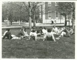 Siena College Historic Image, 1980s, class on the college quad lawn