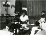 Annette Smith White and her niece in the Fayette Arms apartment building.