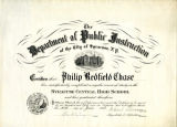 Syracuse Central High School Diploma; Chase, Philip Redfield, 1923-06-26