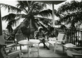 Mrs. Wood on the porch of her daughter, Yvonne Wood Asamoah's home in Accra, Ghana, on McCaufey...