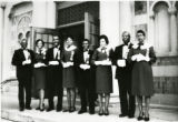 Bethany Baptist Church, Ushers on steps of the Irving Avenue location. Oliver Robinson, Henrietta...