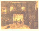 Note card depicting inside of Shorey Cabin