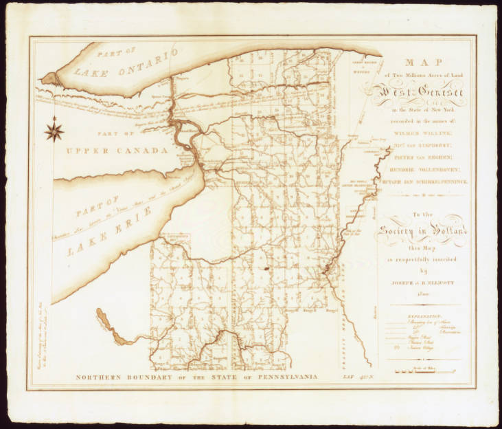 New York Map 1800.Map Of Two Millon Acres In West Genesee 1800 Suny Fredonia New