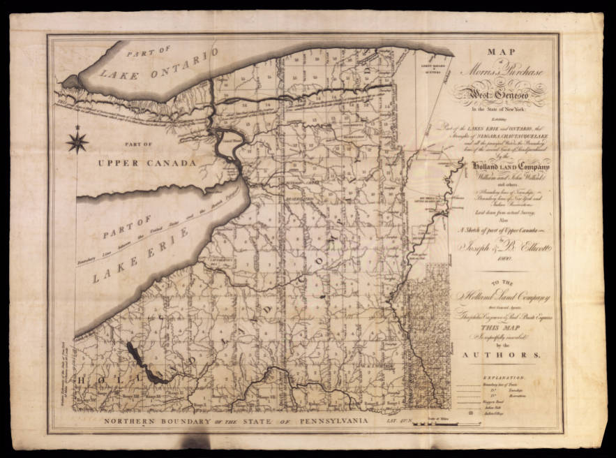 New York Map 1800.Map Of Morris S Purchase Or West Geneseo In New York State 1800