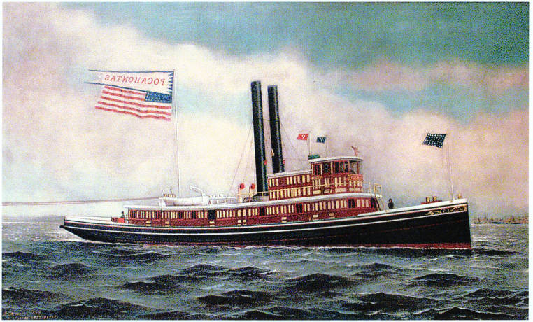 Painting Of The Tugboat Pocahontas When New By The Artist