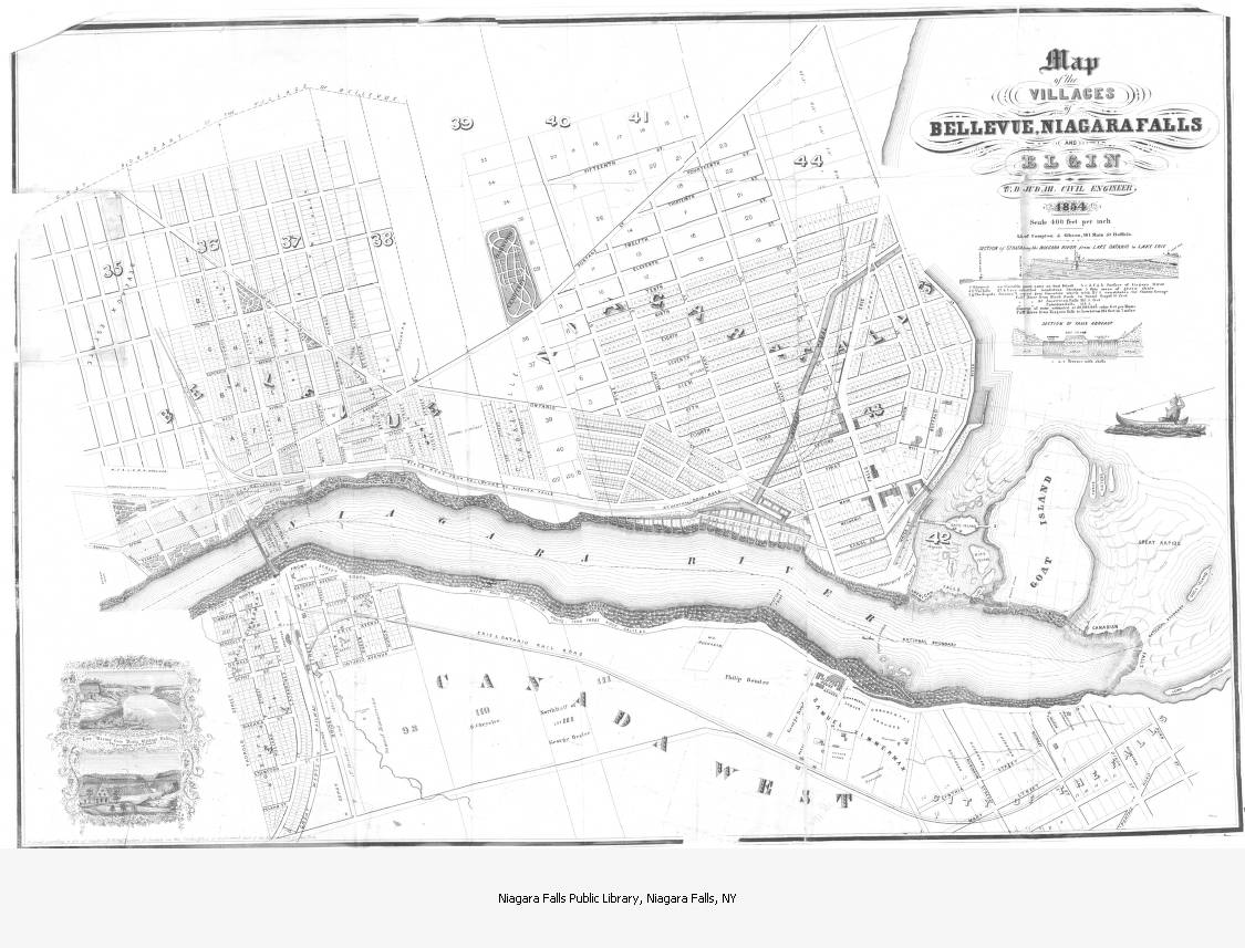Map Of The Villages Of Bellevue Niagara Falls And Elgin