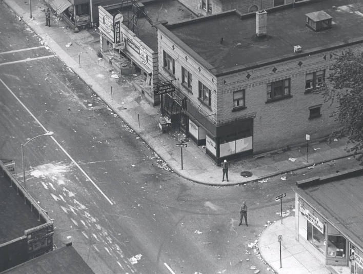 Aerial view of police on Joseph Avenue and Morris Street after riot