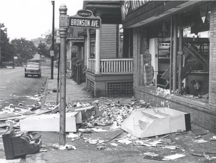 Debris on corner of Clarissa Street and Bronson Avenue after riot