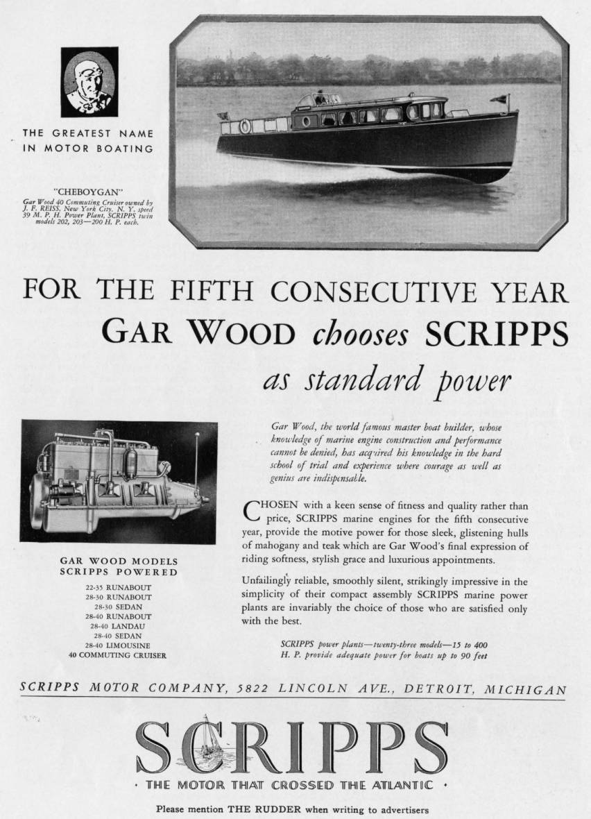 Scripps Motor Company advertisement feauturing Gar Wood cruiser