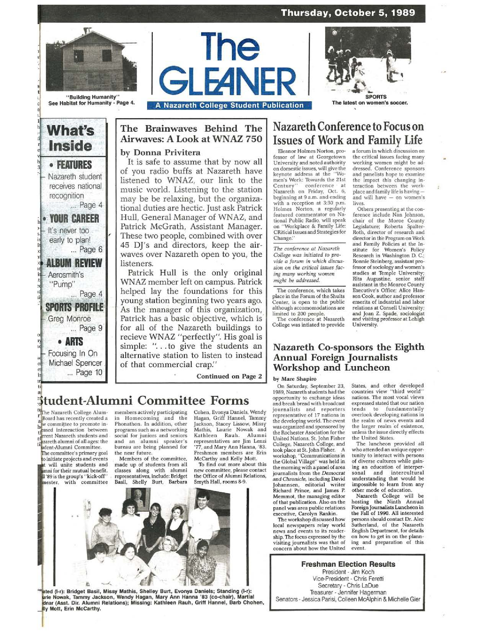 Gleaner_19891005 - Nazareth College - New York Heritage Digital