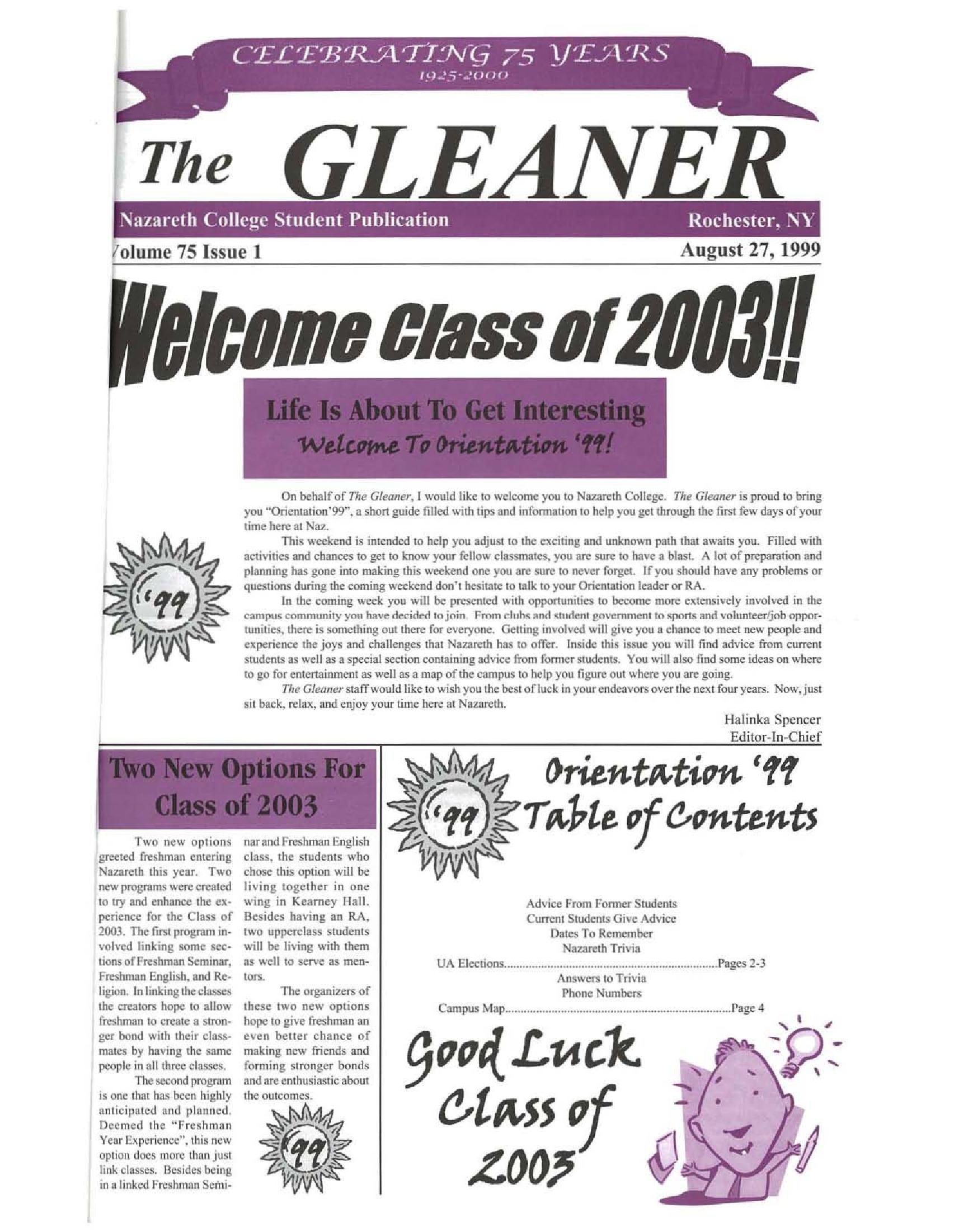 Gleaner 19990827 Nazareth College New York Heritage Digital