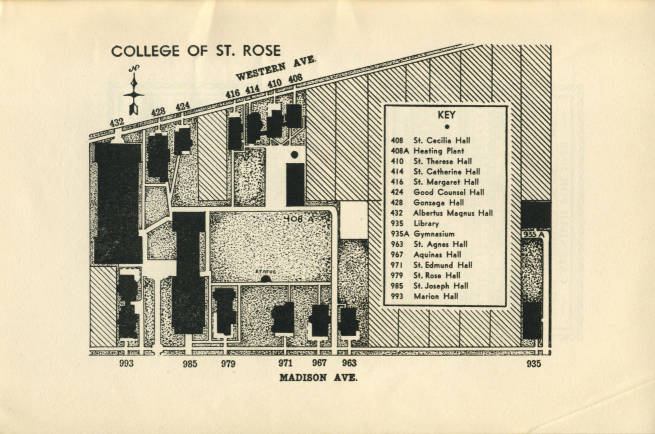 St Rose Campus Map.1942 Campus Map College Of Saint Rose The New York Heritage
