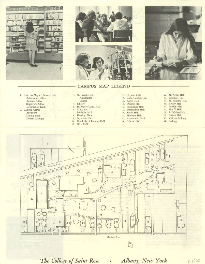 Fontbonne Campus Map.1968 Campus Map College Of Saint Rose The New York Heritage