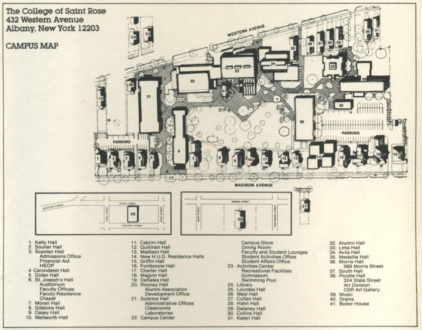 Fontbonne Campus Map.1981 Campus Map College Of Saint Rose The New York Heritage