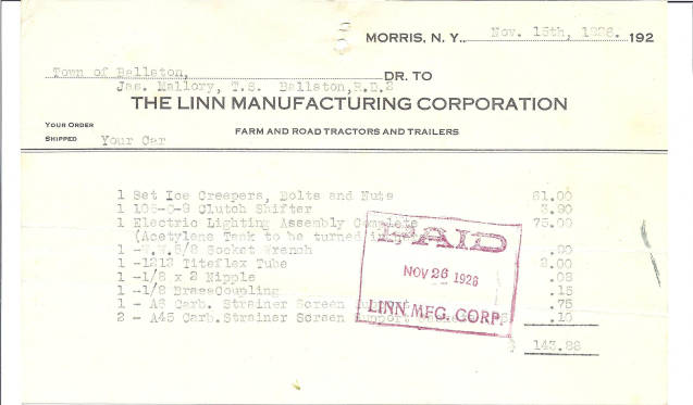 bill of sale from the linn manufacturing corporation of morris new